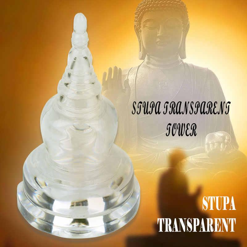 Sarira 透明チベットタワーアクリル仏塔クリスタル仏教ギフトパゴダ家の装飾装飾装身具仏塔敬虔
