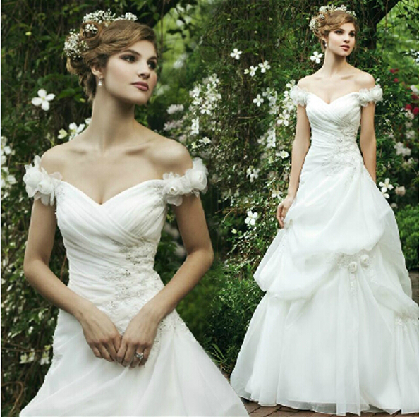 Flowers Appliques Hot Sexy Boat Neck Organza A-line Wedding Dress 2016 Cheap Vestido De Noiva Brides Gown Cap Sleeve Pleat