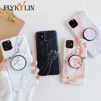 FLYKYLIN Holder Stand Marble Case For iPhone 11 Pro Max Back Cover For Huawei P30 Pro P20 Lite Skin IMD on Silicone Phone Coque