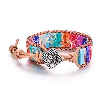 Βραχιόλι 7 Χρώματα Τσάκρα Φυσική Πέτρα Χειροποίητο Δερμάτινο Λουράκι unisex Βραχιόλι Γιόγκα