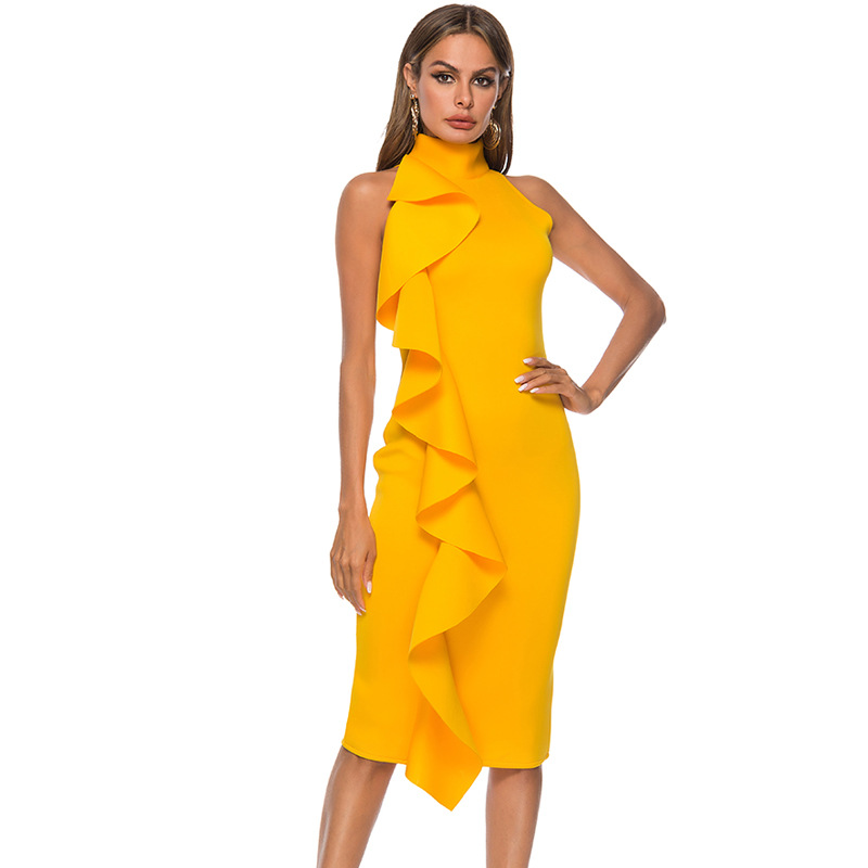 High Neck Yellow Cocktail Dresses Sleeveless Ruffle Women Arabic Sexy Back Slit High Quality Short Formal Party Gown