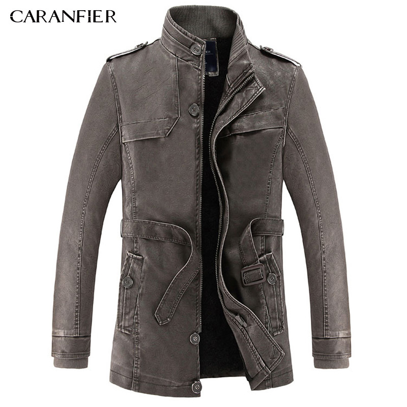 Caranfier 2017 신사복 롱 가죽 자켓 영국식 캐주얼 사업가 남성 롱 윈드 파이트 웜 가죽 아웃웨어 parka l ~ 3xl-에서인조 가죽 코트부터 남성 의류 의  그룹 2