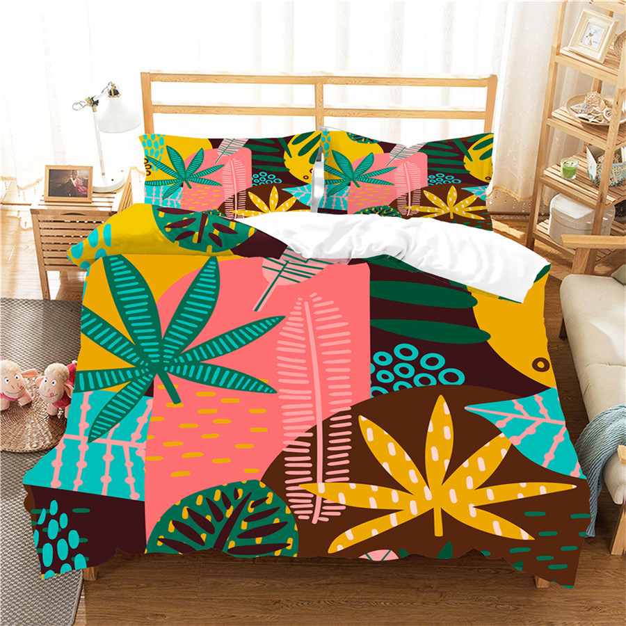 A Bedding Set 3D Printed Duvet Cover Bed Set Tropical Green Plant Home Textiles For Adults Bedclothes With Pillowcase #RDZW49