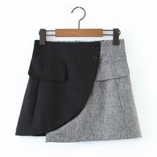Mini-Skirt Women Splicing Spring Streetwear Fashion Ladies Female P1989 Loose Contrast-Color