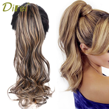 DIFEI Long Wavy Black Ponytail for Women Heat Resistant Synthetic 22 Inches Velcro Wrapped Pony Tail 13 Colors Available charming long black shaggy wavy heat resistant synthetic ponytail for women