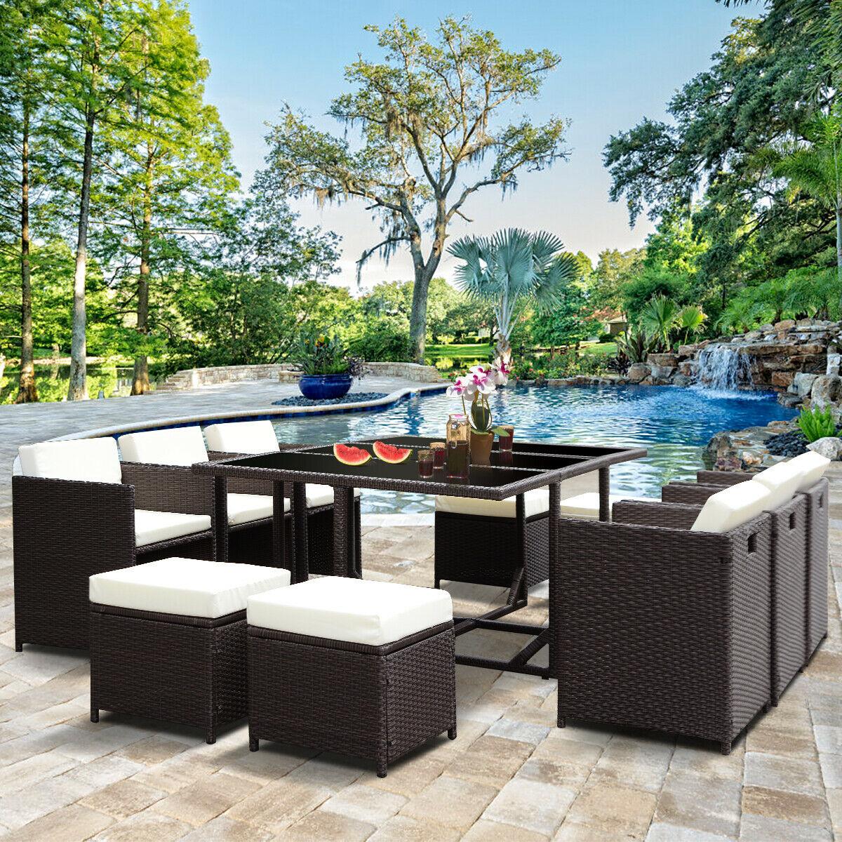 Costway 11 PCS Outdoor Patio Dining Set Metal Rattan Wicker Furniture Garden Cushioned
