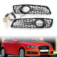 2Pcs Car Front Fog Light Lamp Cover Honeycomb Mesh Grill w/ LED Lights For Audi A3 8P 2009 2010 2011 2012 2013