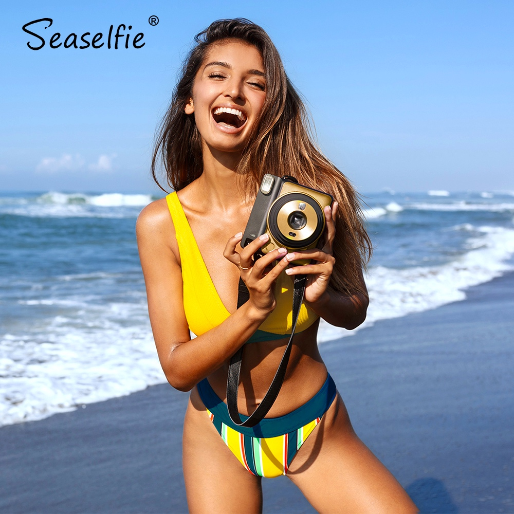 SEASELFIE Chic Yellow And Stripe Bikini Sets Sexy V-neck High-cut Swimsuit Two Pieces Swimwear Women 2020 Beach Bathing Suit