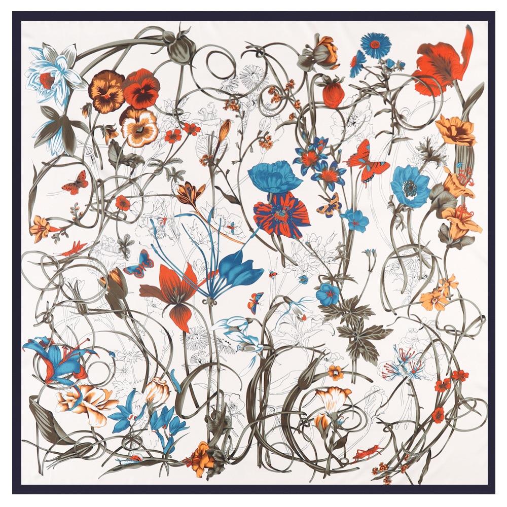 Luxury Brand Floral Design Winter Big Square Scarf 130cm Twill Silk Scarf Women Kerchief Scarves For Lady Fashion Shawl Echarpe