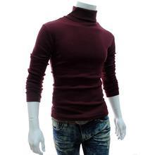 Осень зима мужчины свитер мужчины водолазка однотонный цветной повседневный свитер мужской тонкий вязаный теплый пуловеры