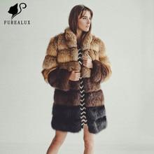 New Winter Full Pelt Genuine Leather Jacket Womens Top Quality Luxury Coat Handmade Clothing Fox Fur Customized