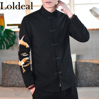 Loldeal Chinese Style Lightweight Jackets Men Retro Slim Collar Embroidery Casual Cotton