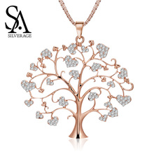 SA SILVERAGE Europe and United States Heart Link Chain Life Tree Necklace Creative Explosions of High Quality Love New Jewelry
