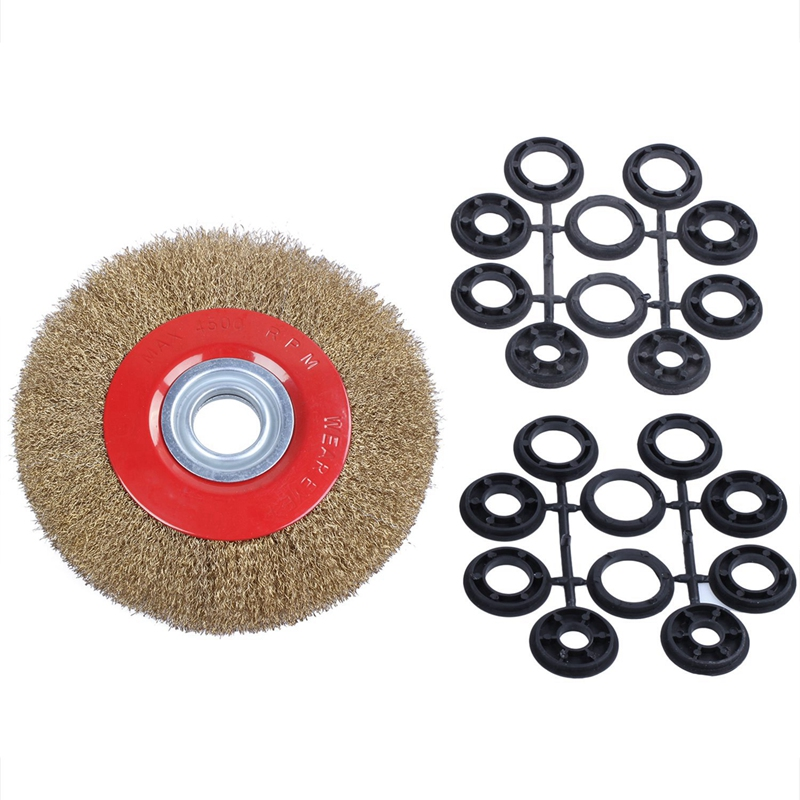 New Wire Brush Wheel For Bench Grinder Polish + Reducers Adaptor Rings,8inch 200Mm