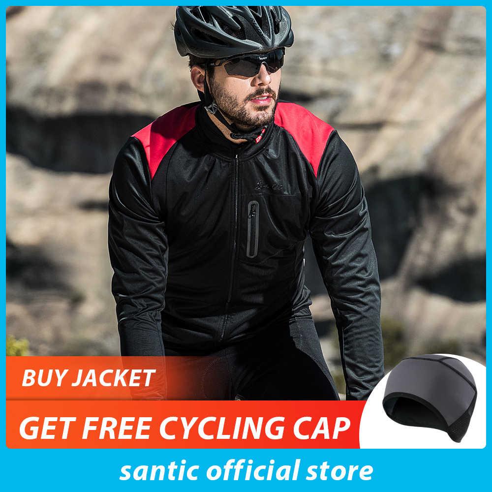 サンティックメンズ秋冬サイクリングジャケット防風 MTB ジャケットコート保温通気性と快適さ黒または赤服 KC6104