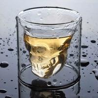 4 Sizess Skull Cup Shot Glass bicchiere trasparente Crystal Skull Head bicchiere per whisky vino Vodka Bar Club birra bicchiere da vino