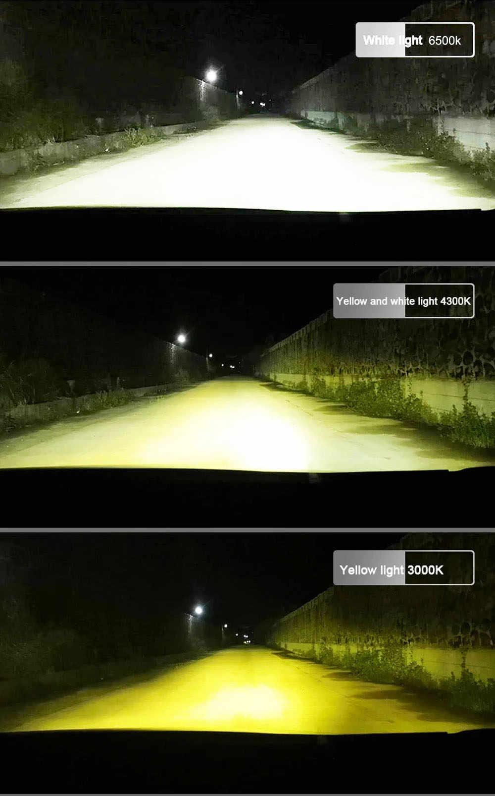 Hillpow ZES 3000K LED H7 H11 H8 HB4 H1 H3 HB3 Auto F2 żarówki reflektorów samochodowych 72W 8000LM 4300K 6500K ampułka LED H4 żarówka