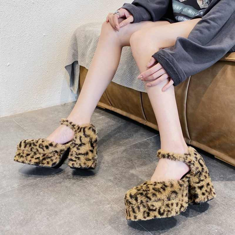 Womens Round Toe Leopard Furry Fur Mixed Colors Platform Pumps Block High Heel Ankle Belt Buckle Retro Shoes Lolita Cosplay Sexy