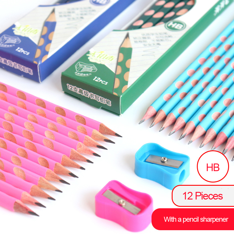 12 pcs/lot Kawaii Wooden Lead Pencils Creative Hole HB Pencil for Kid Gifts School Office Supplies Novelty Stationery
