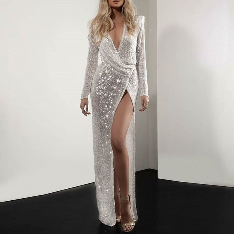 BacklakeGirls 2019 Deep V Neck Long Sleeve High Split White Sequin   Evening     Dress   Party Prom Robe Vestidos De Festa Longo