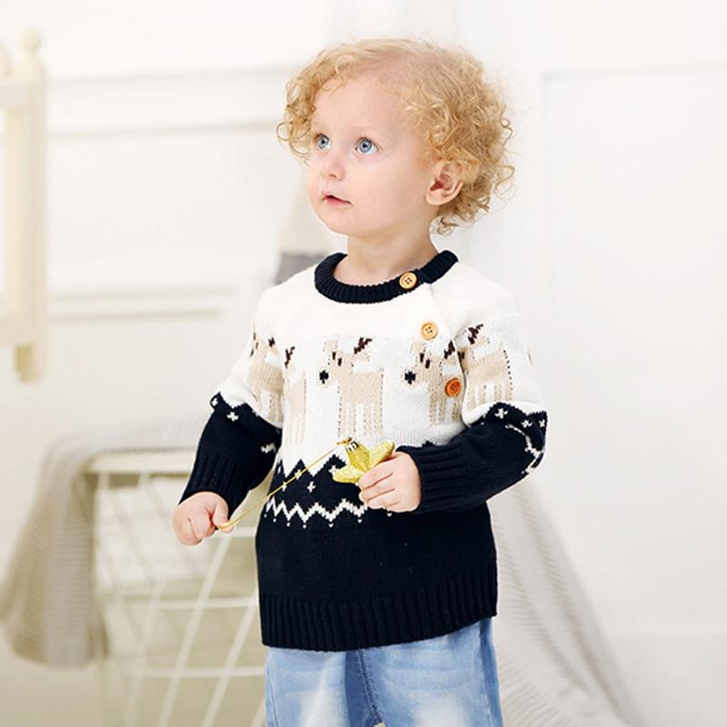2020 Autumn Winter Boy Girl Christmas Elk Long Sleeve Cartoon Knitted Sweater Boys Girls Sweaters For Baby Girls Kids Sweaters 5