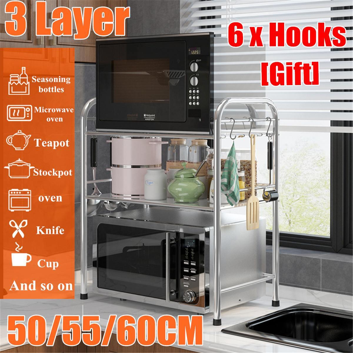 Estante de cocina de acero inoxidable grueso de 3 capas, estante para horno microondas, organizador de baño para el hogar, estante de almacenamiento para cocina de arroz con 6 ganchos Estante de baño Sokoltec hw47885wh