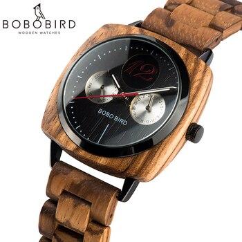 Bobo pássaro relógio de madeira personalizado clássico quadrado dial luxo masculino quartzo relógios de pulso na caixa de madeira dropshipping