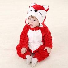 Umorden תינוק אדום שועל תלבושות Kigurumi קריקטורה בעלי החיים פעוט תינוק ילד סרבל סרבל תינוקות פלנל ליל כל הקדושים תחפושת