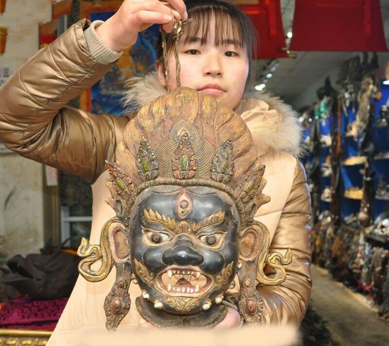 wedding decoration Old Tibet Temple Bronze Painted Mahakala Wrathful Deity Buddha vizard mask Masks|Statues & Sculptures| |  - title=