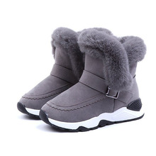 COZULMA Girls Warm Plush Lining Snow Boots Winter Shoes Kids Non-slip Rubber Sole Buckle Ankle Size 26-36