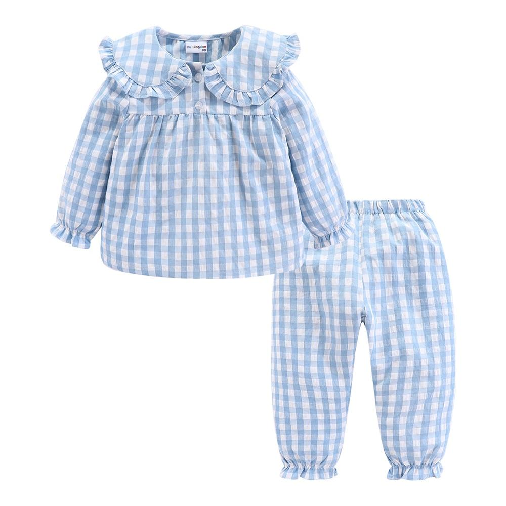 Mudkingdom Girls Pajama Set Peter Pan Collar Cute Plaid Kids Homewear Casual Toddler Pajamas Kids Sleepwear 2