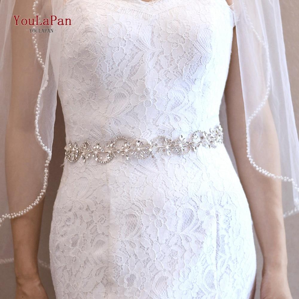YouLaPan SH266 Luxury Sliver Crystal Belt for Formal Dress Belt Wedding Dress Sash Belt Women Dress Belts Rhinestone Belt