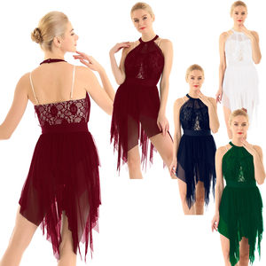 Image 2 - Women Halter Lace Asymmetrical Figure Skating Modern Ballet Dance Dress Gymnastics Leotard Contemporary Lyrical Dance Costumes