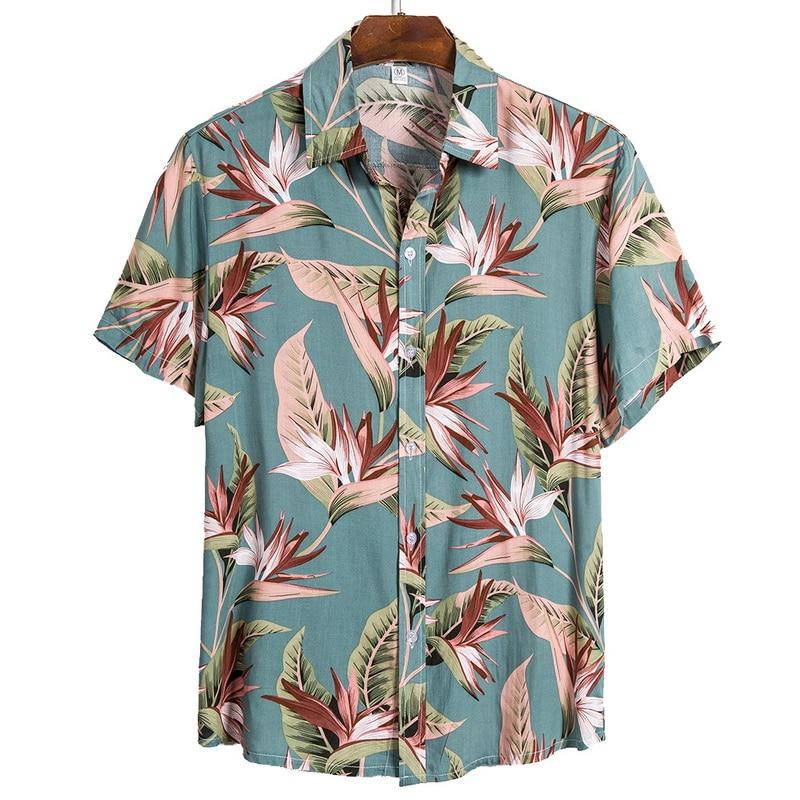 2020 Men Shirt Hawaiian Casual Wild Cotton Shirts Men Tropical Button Tops Fashion Casual Short-sleeve Loose Men Beach Shirts
