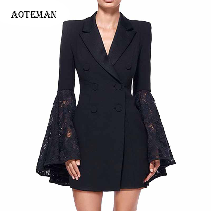 Autumn Winter Women Blazer Mujer 2019 Long Flare Sleeve Double-breasted Office Jackets Female Plus Size Elegant Blazer Feminino
