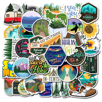 TD ZW 50PCS/Lot Outdoor Adventure Camping Travel PVC Waterproof Stickers Decal DIY Sticker for Laptop Car Luggage skateboard - discount item  13% OFF Classic Toys