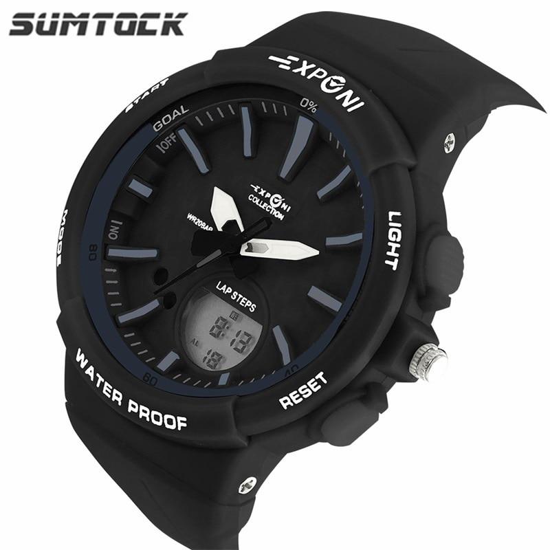 SUMTOCK Fashion Children Digital Watches Sports Waterproof LED Dual Time Double Movement Women Quartz Watches Chronograph Kids