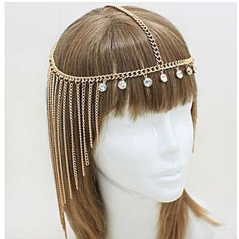 New Ladies Cleopatra Handmade Pearl Tassel Rhinestone Hair Band Multi-layer Hair Accessories Female Bohemian Chain Headdress
