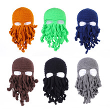Octopus Hat Crochet Wind-Mask Beard Tentacle Animal Funny Beanie Knit Novelty Men's Gift
