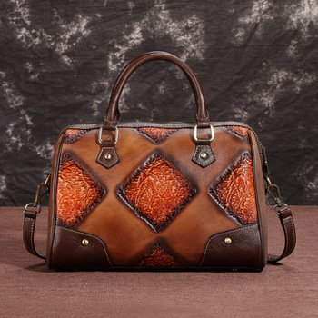 Genuine Embossed Leather Bags Top Handle Bag Brush Color Natural Skin New Female Retro Design Women Shoulder Messenger Handbag