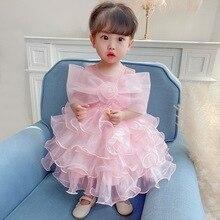 Летние платья принцессы для девочек детское кружевное платье с фатиновой юбкой одежда для свадьбы, дня рождения платье-пачка платье для мал...