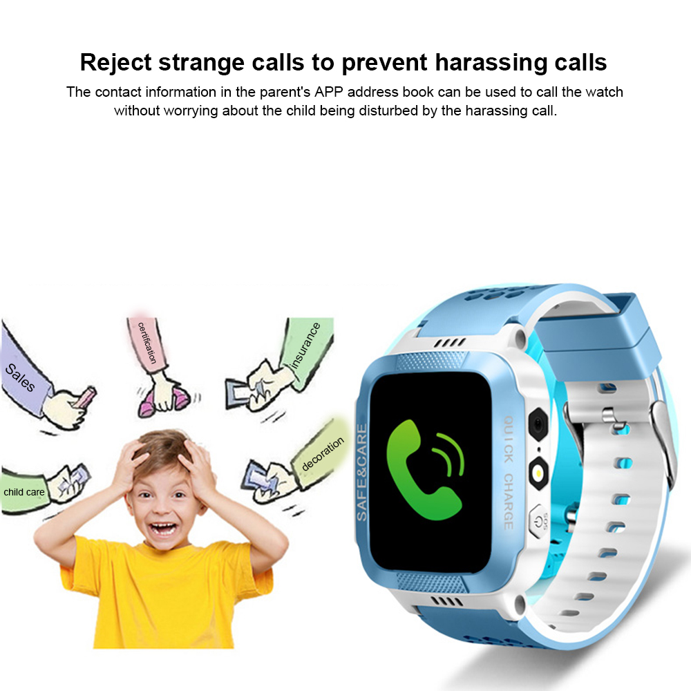 Y21s Smart Positioning Watch for Kids Children Smart Watch GPS Tracker Alarm Waterproof Wristwatch Security Photo + Touch Screen