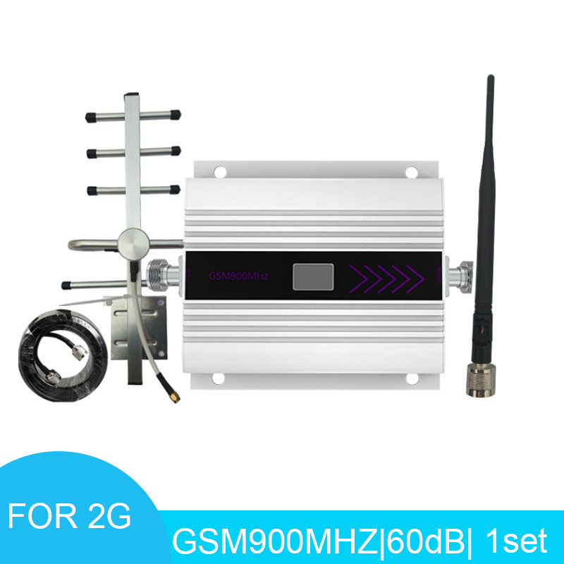 Signal Booster LCD Display Mini GSM Repeater 900MHz Cellular Signal Repeater Amplifier With Yagi Antenna 10m Cable *
