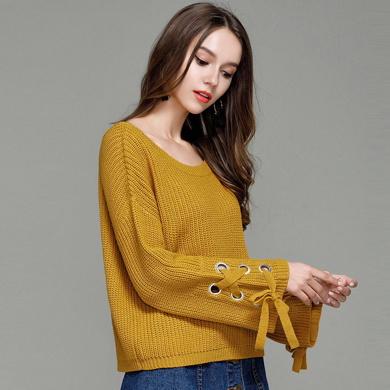 Fashion Korean Style Women Knitted Sweaters Solid O Neck Flare Sleeve Autumn Winter Casual Ladies Pullovers Jumper Mujer 2019 in Pullovers from Women 39 s Clothing