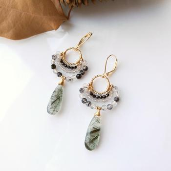 LiiJi Unique Rutilated Quartzs Black Tourmaline Quartzs Labradorite Earrings Handmade Vintage 925 Sterling Silver Gold Color