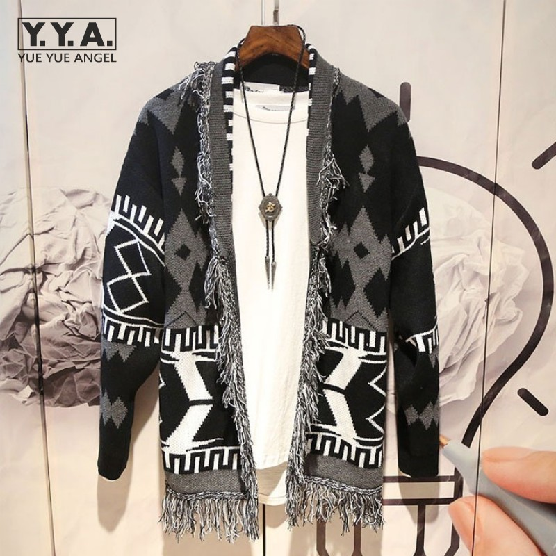 New Autumn Mens Sweater Cardigan Coat Japanese Fashion Patchwork Tassel Lapel Knitting Tops Retro Loose Jumpers Casual Outerwear