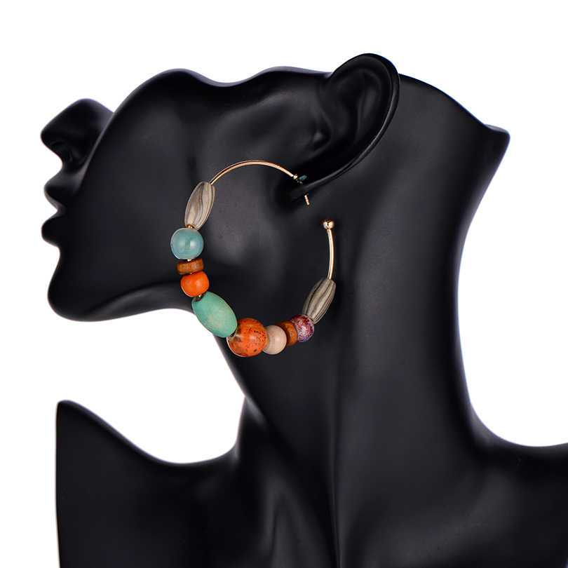 Ethnic Wooden Beads Big Gold Round Earring For Women Za Jewelry Summer Style Colorful Natural Stone Crystal Drop Earrings Hot