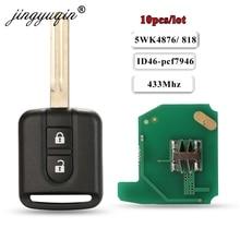 Jingyuqin 10 Pcs 433 Mhz ID46 PCF7946 Chip Afstandsbediening Sleutelhanger Voor Nissan Elgrand X TRAIL Qashqai Navara Micra Note NV200 5WK4876/ 818