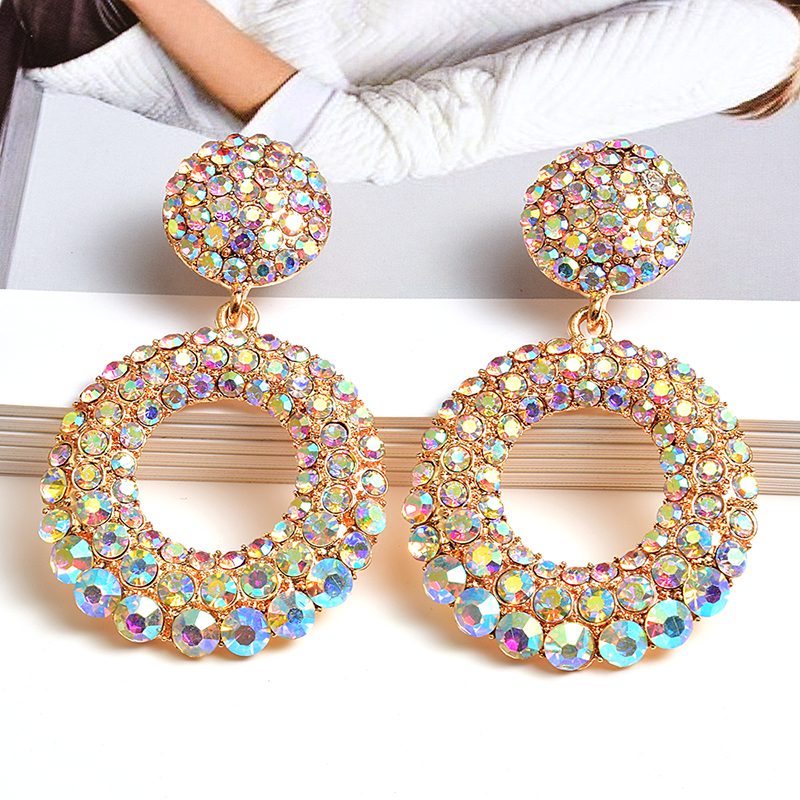 New Arrive Statement Round Colorful Rhinestone Long Drop Earrings High-Quality Fashion Crystals Jewelry Accessories For Women