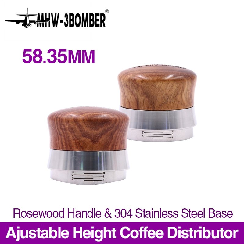 58.35mm Ajustable Coffee Tamper Rosewood Handle Powder Hammer Stainless Steel Thread/Flat Base Espresso Distributor Accessory